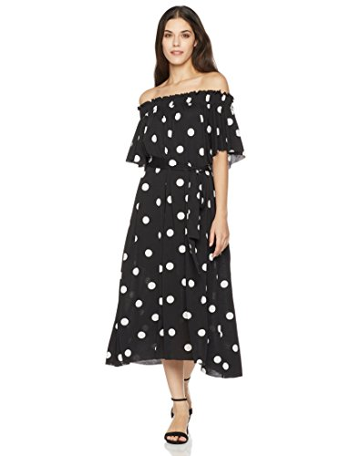 Painted Heart Women's Short Sleeve Off-The-Shoulder Print Knit Dress Small Polka Dot - Wash Polyester Dress
