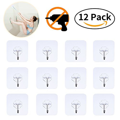 Adhesive Hooks Utility Hooks - 12 Packs 22lbs Heavy Duty Wall Hooks Waterproof Reusable Seamless Sticky Hook for Bathroom Kitchen Wall Door Ceiling and More Transparent DEWANG Command Hooks Heavy Duty (Dirt Hook)