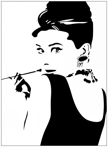 Fangeplus(TM) DIY Removable Audrey Hepburn Breakfast At Tiffany's Art Mural Vinyl Waterproof Wall Stickers Bed Room Decor Livingroom Decal Sticker Wallpaper - And Tiffany Shipping Co