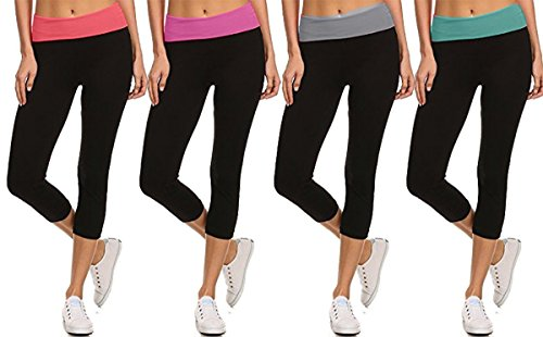 MOPAS Yoga Capri Pants with Fold Over Solid Waistband Assorted (4 Pack) Medium ()