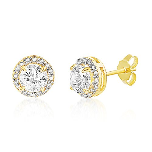 Lesa Michele 1/10 Cttw Genuine Diamond & Lab Created White Sapphire Stud Earring in Yellow Gold over Sterling -