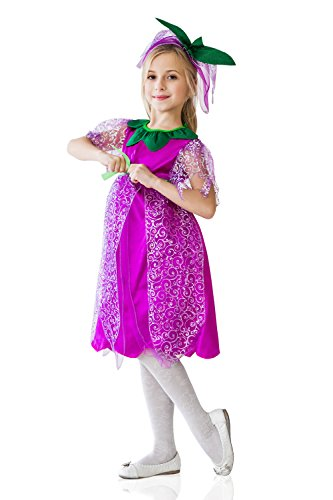 Kids Girls Violet Flower Halloween Costume Purple Pixie Dress Up & Role Play (6-8 (Flower Child Halloween Costume)
