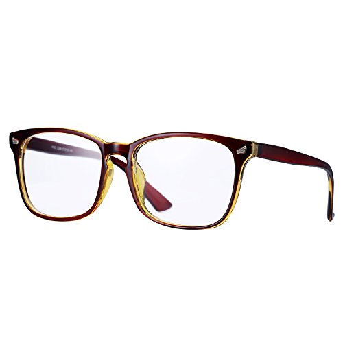 Pro Acme New Wayfarer Non-prescription Glasses Frame Clear Lens Eyeglasses (Brown)