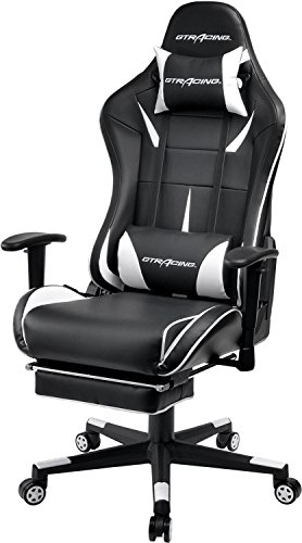 GTracing Gaming Chair Ergonomic Office Chair with Footrest Heavy Duty E-Sports Chair for pro Gamer Seat Height Adjustable Multifunction Recliner with Headrest and Lumbar Support Pillow GT909 White
