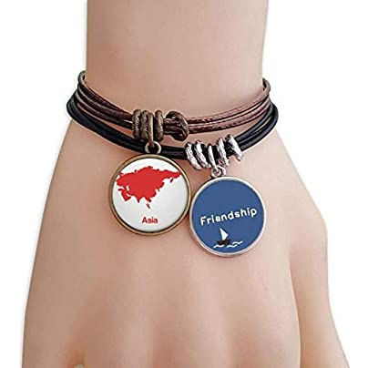 YMNW Red Asia Illustration Map Pattern Friendship Bracelet Leather Rope Wristband Couple Set Estimated Price -