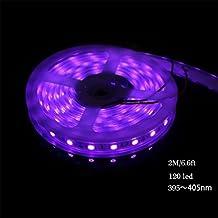 AMARS IP67 Waterproof UV Blacklights Light Strip Fixture 2M/6.6ft 5050 SMD 395nm¡«405nm DC 12V 60leds/m 120 LED Ultraviolet Purple Light Bulb Lighting