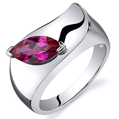 (Created Ruby Ring Sterling Silver Marquise Shape 1.25 Carats Size 8)