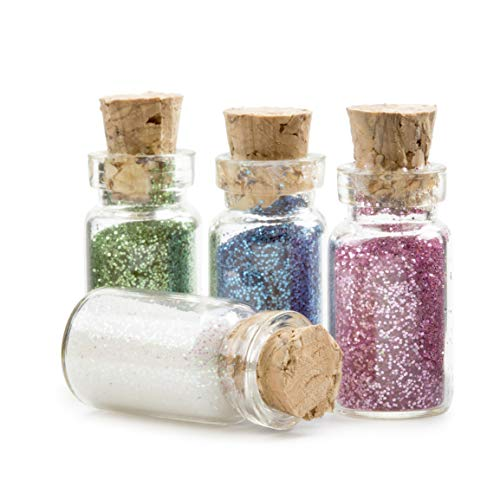 - DARICE Fairydust Glass Fairy Dust Bottles with Glitter, 4 Colors.4375 x 1 inch, Multicolor