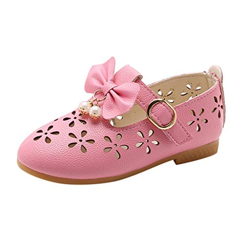 (Tantisy ♣↭♣ Baby Shoes Girls England Kids Hollow Out Pearl Bow Single Shoes Princess Shoes Soft Shoes Outdoor Sandals Pink)