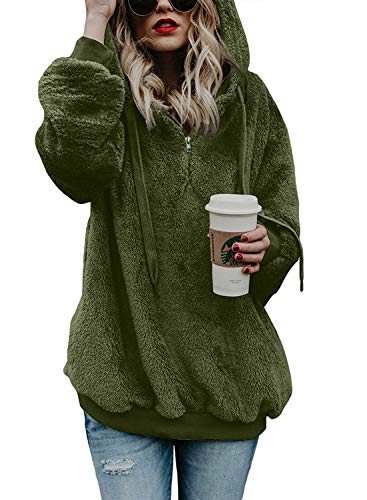 Hooded Sweatshirt Long Sleeve Fleece Pullovers for Women Fall Winter Cozy Warm Sweater Novelty Cute Quarter Zip Jacket Coats Green -