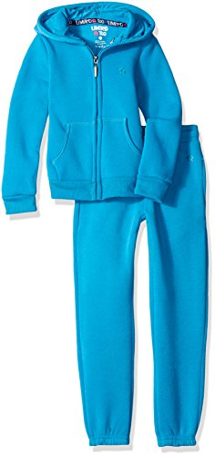 Limited Too Little Girls' Toddler Fleece Hoodie Jacket and Pant Jog Set, Turquoise, 2T