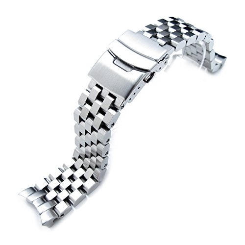 (22mm SUPER Engineer Type II Solid Stainless Steel Curved End Watch Band-fit Seiko skx007)
