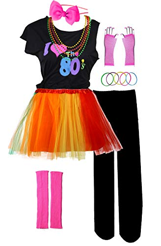 I Love 80s Pop Party Rock Star Child Girl's Costume Accessories Fancy Outfits (7-8, Six -