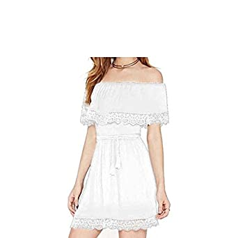 379242f3b91 Aabigale Pretty 2018 New Summer Women s Dresses Lace Tassels Lace One- Shoulder Short-Sleeved