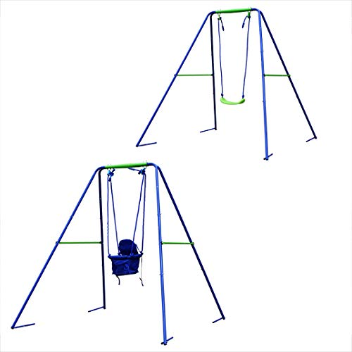 BestValue Go 2-in-1 Toddler Swing Seat A-Frame Metal Swing Play Set Indoor Outdoor Backyard