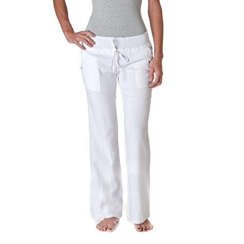 Love Tree Womens Linen Drawstring Pants, White, Medium