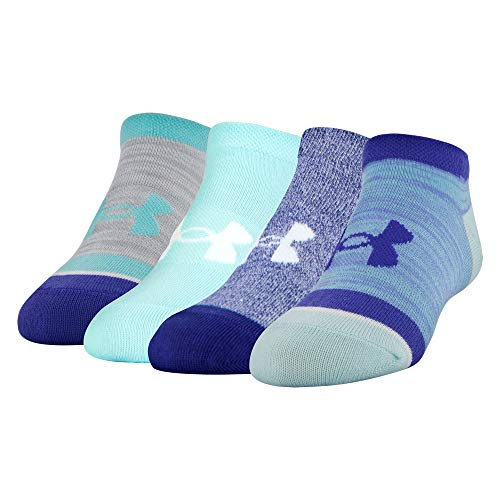 Under Armour Essential No Show Socks 4 Pairs, Tropical Tide Assortment, Youth Large