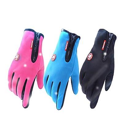 WANGQIANG Waterproof Touch Screen Gloves Men and Women Zipper Sport Outdoor Winter Warm Fleece Windproof Riding Ski Climbing Biking Gloves