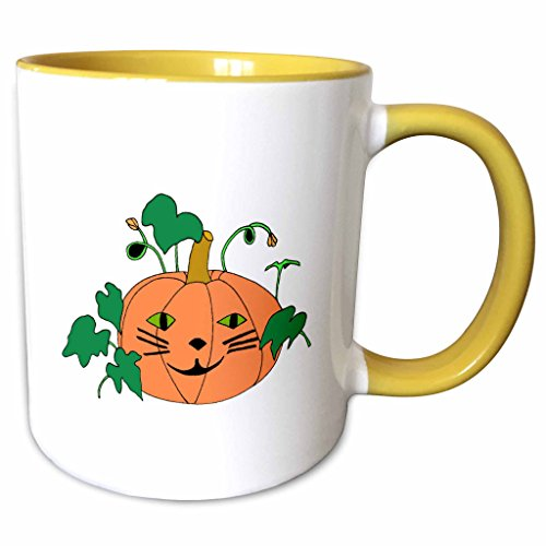3dRose CherylsArt Holidays Halloween - Digital painting of a cute pumpkin with a cat face for Halloween - 15oz Two-Tone Yellow Mug (mug_223207_13)]()