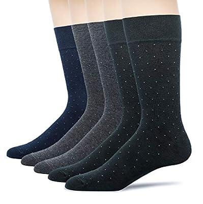 u&i Men's Dress Socks in Supima Cotton 5 Pack Crew Socks for Shoes size 7-13