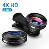 4K HD Portable iPhone Camera Lens [3-in-1] Kit Pro by Ainope, [20X-Macro] Lens, [0.65X 165° -Wide Angle Lens], [180° Fisheye] Clip-On Universal Camera Lenses for iPhone, Samsung Phones (Black)