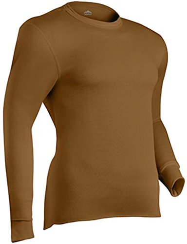 Expedition Long Sleeve Shirt - ColdPruf Men's Expedition Base Layer Long Sleeve Crew Neck Top, Coyote Brown, Medium