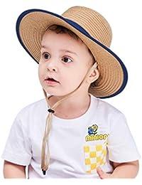 Connectyle Kids Boys Fedora Panama Hat Summer Beach UV Sun Protection Hats Straw Boater Sun Hats Khaki