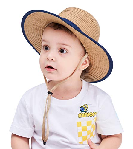 Connectyle Kids Fedoras Boater Hat UPF 50+ Sun Protection Hats for Toddler Boy Beach Bucket Sun Hats Khaki ()