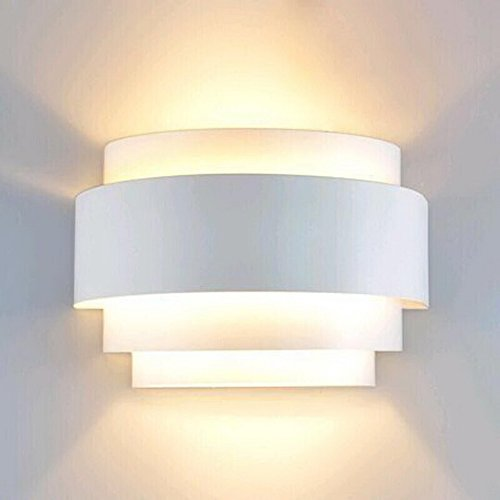 LightInTheBox Modern/Contemporary Wall Sconces 1 Light Wall Light Metal Shade Glass Decoration E26/E27 Bulb Base Painting Finish 110-120V White Color (Wall Contemporary Lamp)