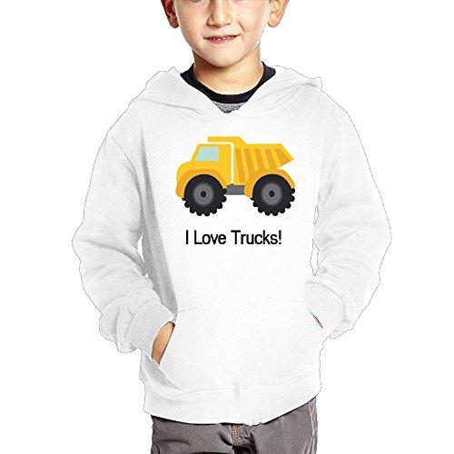 Joapron Love Trucks Kids Long Sleeve Pocket Pullover Hooded Sweatshirt White Size 3 Toddler