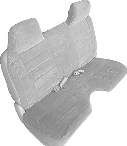 """A27 Chevy S10 GMC Sonoma S15 Front Bench 12mm Thick Triple Stitched Seat Covers Molded Headrests Seat Belt Large 5"""" to 7"""" inch Shifter Cutout Custom Made for Exact Fit 1994 2003 (Gray, Grey)"""