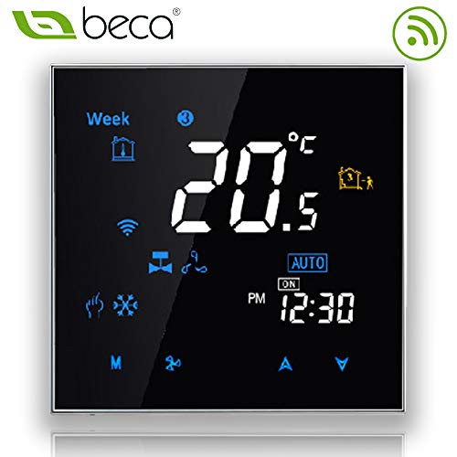 Two Pipe, Black BecaSmart Series 6000 Round Thermostat Two Pipe for Air Conditioning Fan Coil with WiFi Connection WiFi