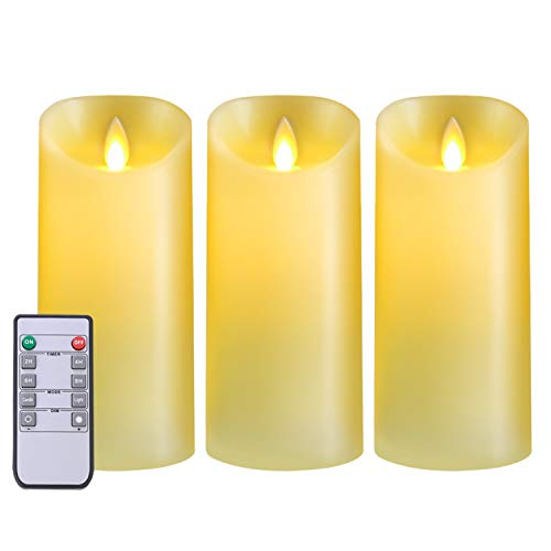 5PLOTS Flickering Flameless Candles Set of 3 (H7 x D3), Battery Operated LED Pillar Candles with Remote and Timer, Moving Dancing Flame, Ivory -