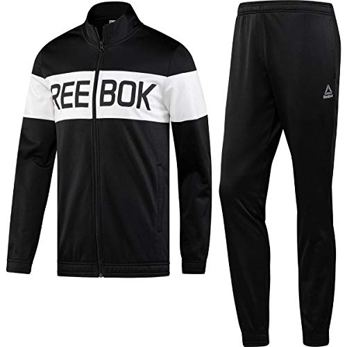Reebok Cuffed Mens Polyester Sports Tracksuit Suit Set Black/White - XL (Reebok Mens Track Suit)