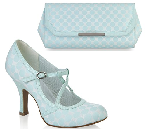 Ruby Shoo UK 3 EU 36 Mint Green Edie Fabric Mary Jane Pumps & Torino Bag by Ruby Shoo