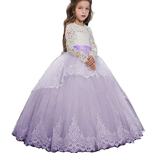 Pageant Flower Girls Dress Lace Long Sleeves Princess Tulle Ball Gown Lilac US 12 (Ball Purple Dress Diamond)