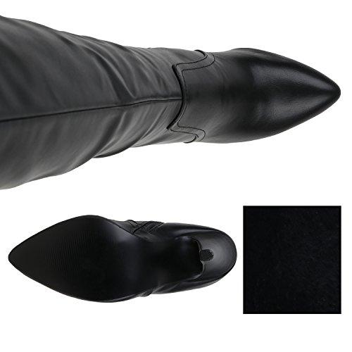 Damen Stiefel High Heels Schuhe Veloursleder-Optik Boots Stilettos Flandell Schwarz Avelar
