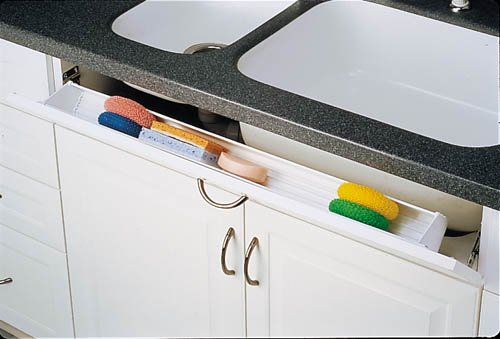 Tip-Out Tray LD Deluxe w/ 50 Degree Soft-Close Hinges For Sink & Base Accessories - 6541-36SC-15-50 - 36''W x 1-11/16''D x 3-15/16''H - Almond by handyct