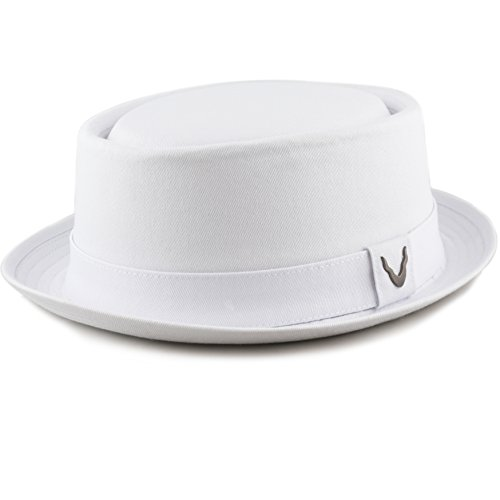THE HAT DEPOT Black Horn Cotton Plain Pork Pie Hat (X-Large, White) Mens Pork