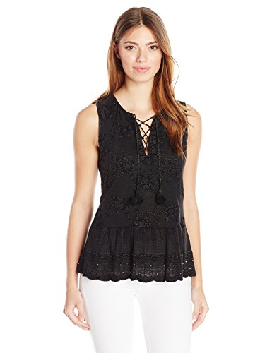 Lucky Brand Women's Washed Studded Tank Top, Lucky Black, Small