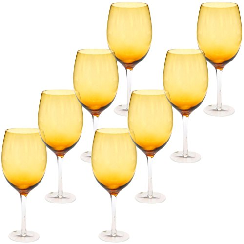 Certified International White Wine Stemware Glass (Set of 8), 20 oz, Dark Amber ()