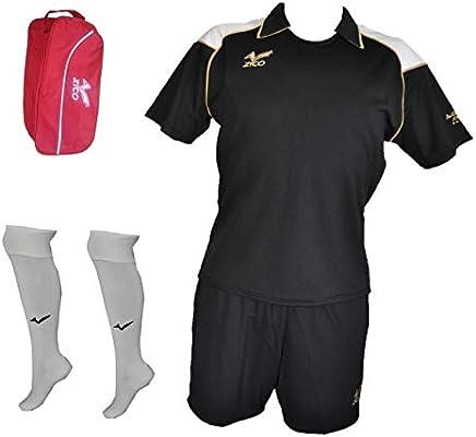 ZICO ESPAÑA Conjunto Fútbol Negro Camiseta-pantalón, equipación (M ...