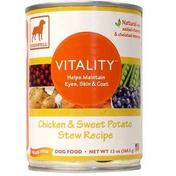 Dogswell Vitality for Dogs, Chicken and Sweet Potato Stew Recipe, 13-Ounce Cans (Pack of 12), My Pet Supplies