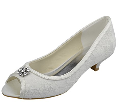 Minishion Womens Kitten Heel White Satin Lace Evening Par...