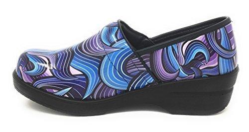 Rasolli Women's Professional Closed Back Clogs, Swirls, Blue Purple, Size 9.0