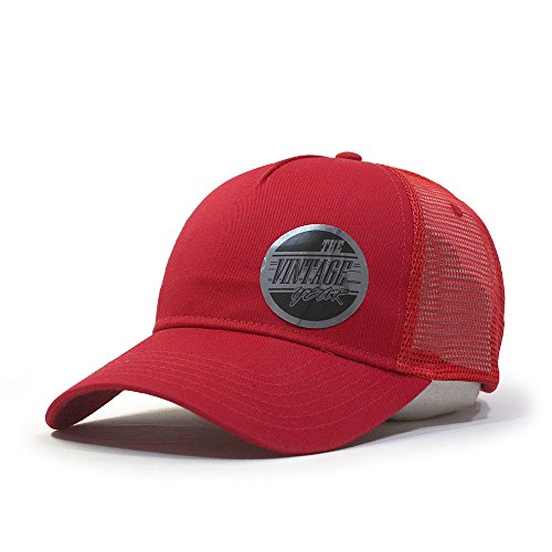 Vintage Year Plain Cotton Twill Mesh Adjustable Snapback Trucker Baseball Cap (Various Colors) ()