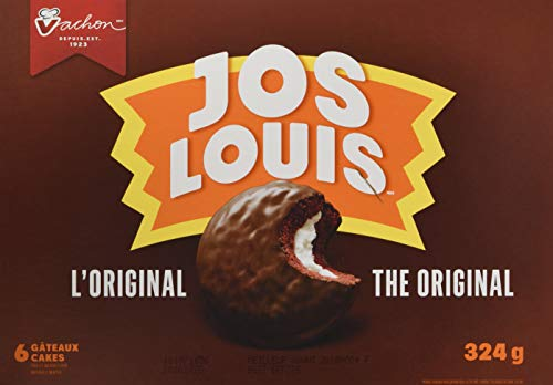 Vachon Jos Louis the Original 6-delicious Sponge Cake with Vanilla-flavoured Creme Filling Coated in a Chocolatey Layer, 324g, 11.4 Oz Box. Made in Montreal Quebec Canada (Ice Cream Chocolate Cakes)