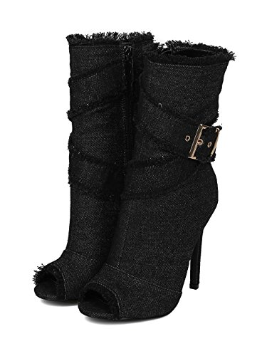 Alrisco Women Denim Peep Toe Frayed Stiletto Ankle Boot HC44 - Black/Denim (Size: 8.5) by Alrisco (Image #4)