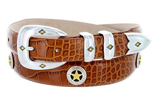 Gold Concho Belt (Presidential Gold Star Tan Dress Golf Belt (Alligator Tan,)