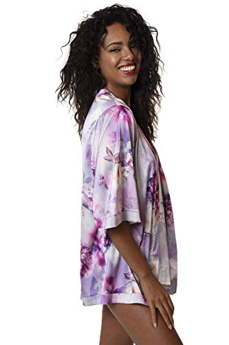 Womens Floral Print Kimono Silk Loose Cardigan Swimsuit Cover up L